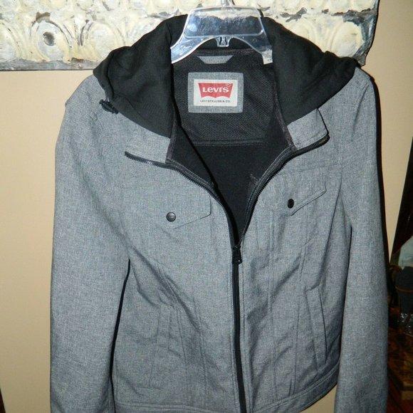 Levi's Gray Jacket with Hoodie Sz S